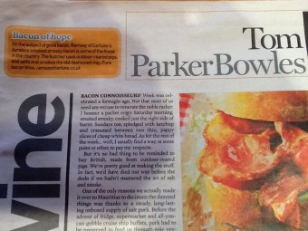 Bacon of Hope article by Tom Parker Bowles